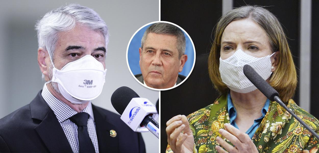 Senador Humberto Costa, ministro Braga Netto (Defesa) e a deputada Gleisi Hoffmann (PR)