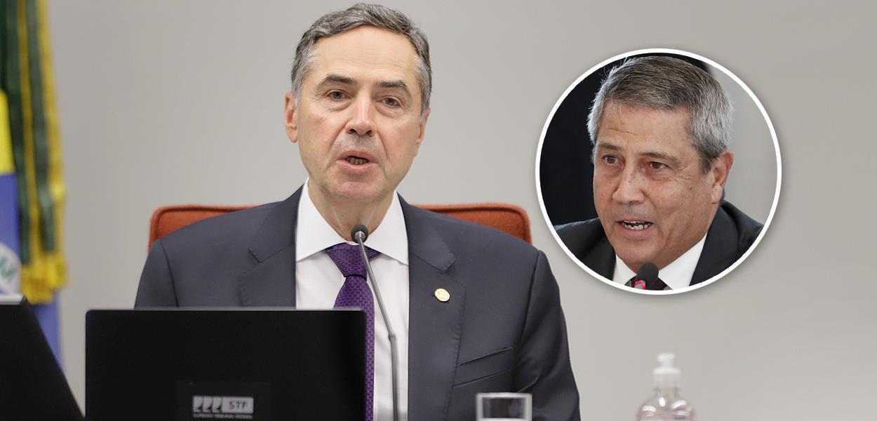 Presidente do TSE, Luis Roberto Barroso, e o ministro da Defesa, Braga Netto
