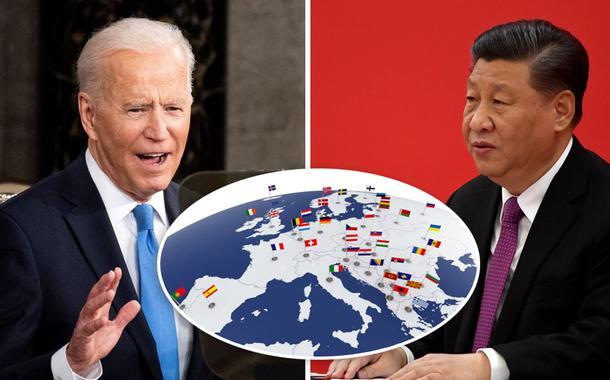 Presidentes dos EUA, Joe Biden, e da China, Xi Jinping, mais o mapa da Europa