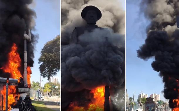 Incêndio na estátua do Borba Gato, em São Paulo