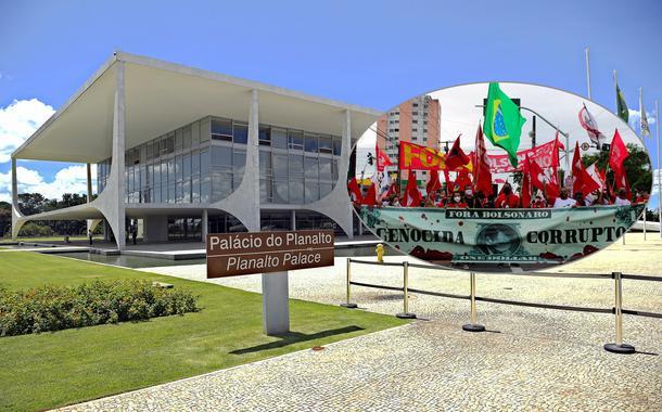 Palácio do Planalto e um ato contra Jair Bolsonaro