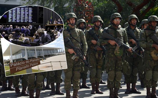 Câmara dos Deputados, Planalto (gabinete da presidência da República) e militares