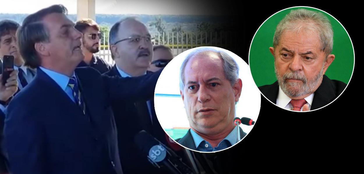 Jair Bolsonaro com apoiadores, ex-ministro Ciro Gomes e o ex-presidente Luiz Inácio Lula da Silva