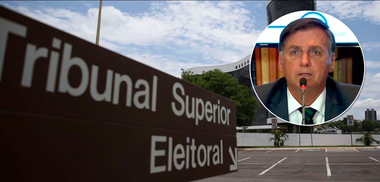 Fachada do TSE e Jair Bolsonaro