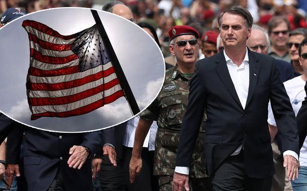 Bandeira dos Estados Unidos, Bolsonaro e militares