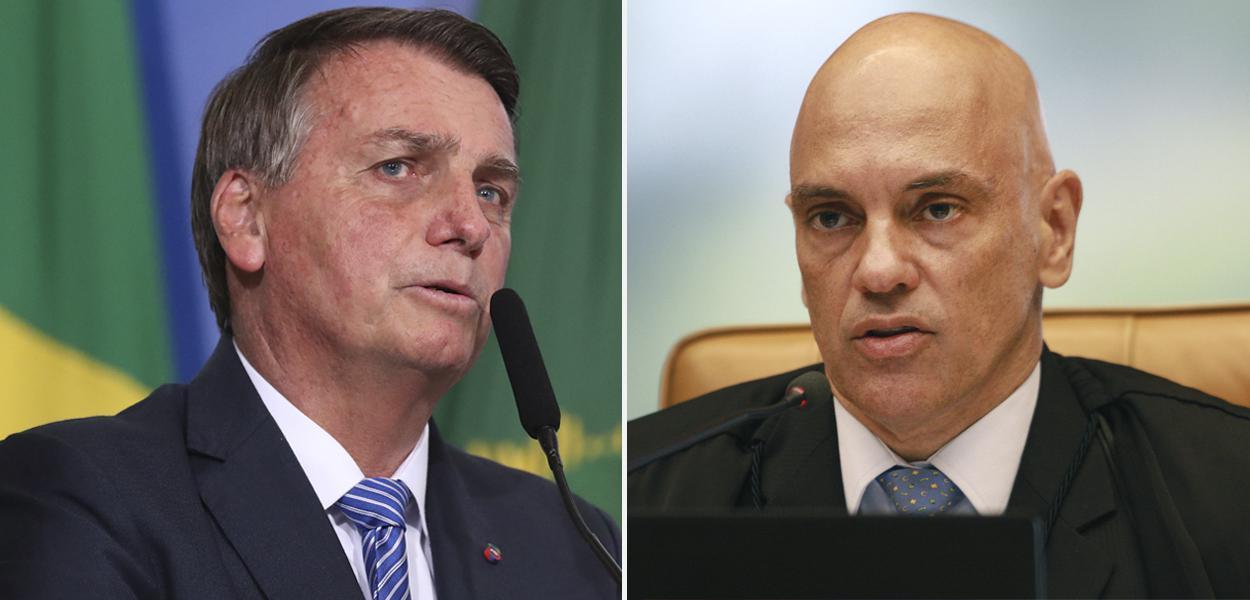 Jair Bolsonaro e o ministro Alexandre de Moraes