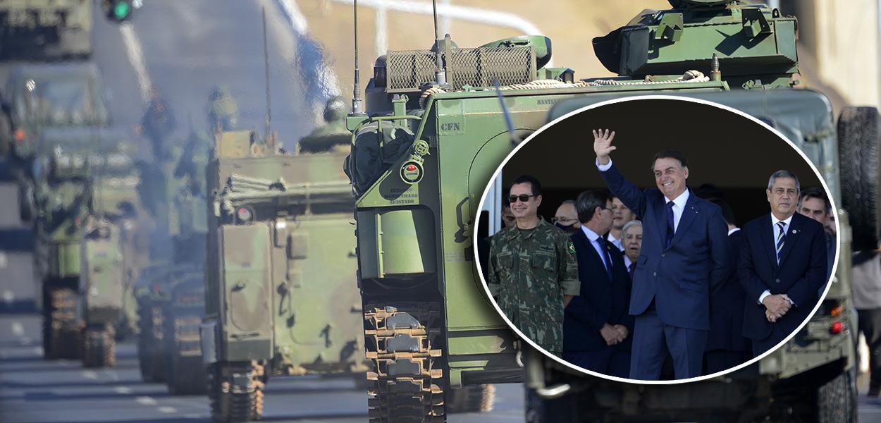 Jair Bolsonaro acompanha desfile de tanques em Brasília