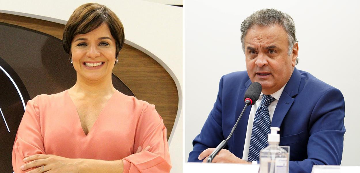 Vera Magalhães e Aécio Neves
