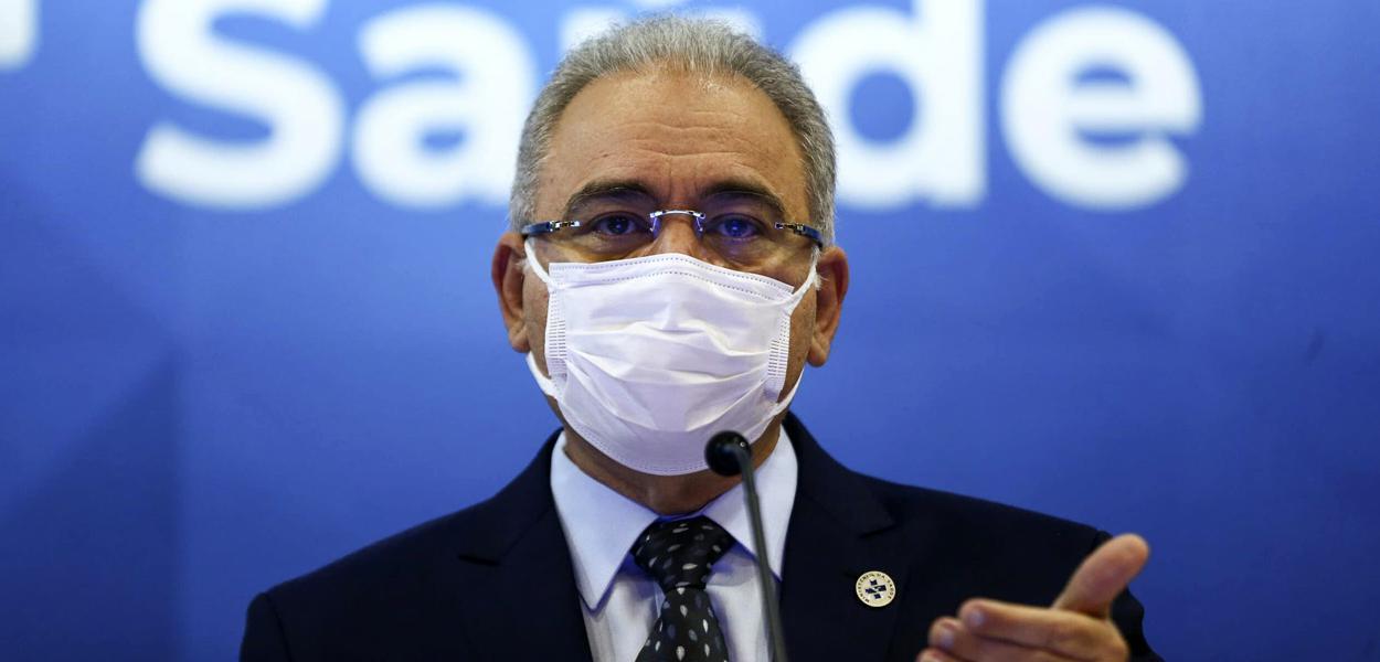 O ministro da Saúde, Marcelo Queiroga, durante entrevista coletiva 18.08.2021