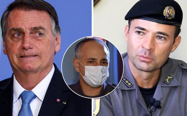 Bolsonaro, coronel da PM-SP Aleksander Lacerda e coronel da reserva Ricardo de Mello Araújo