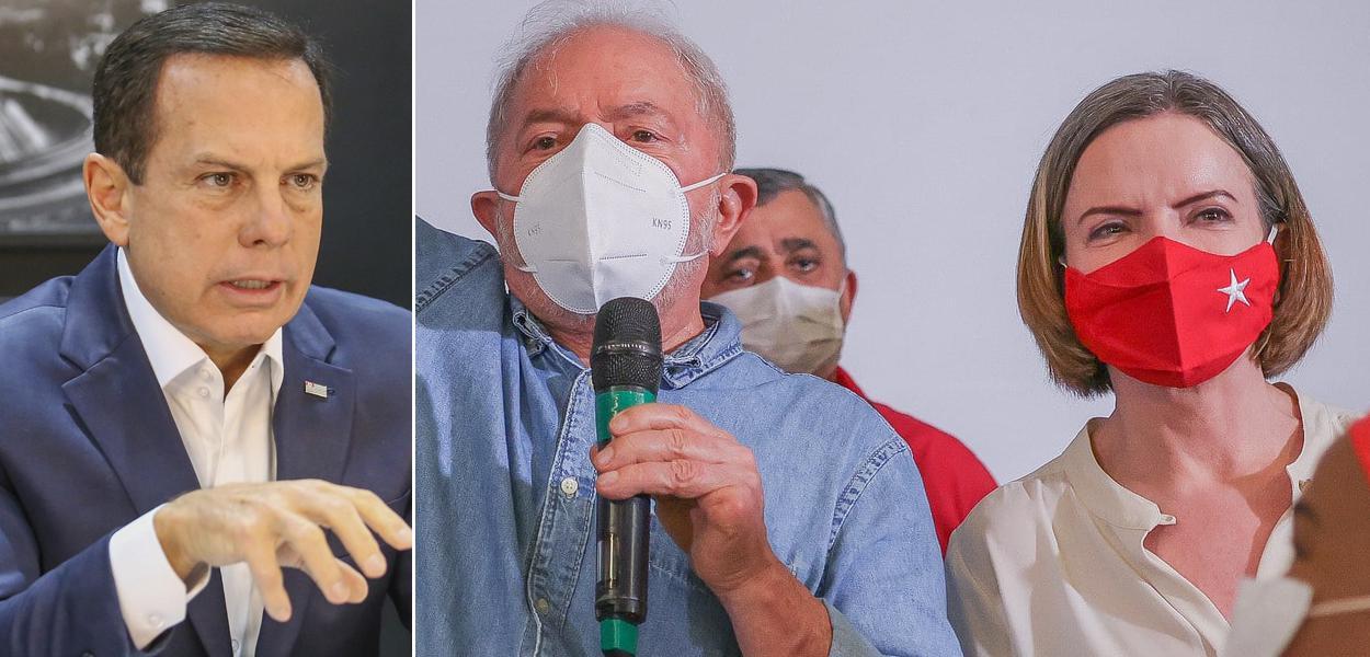João Doria, Lula e Gleisi Hoffmann