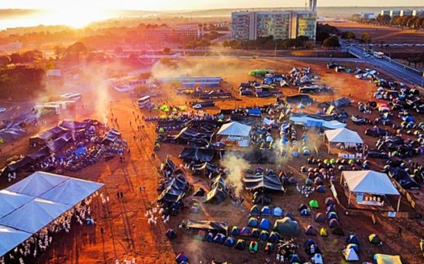 Acampamento dos povos indígenas em Brasília