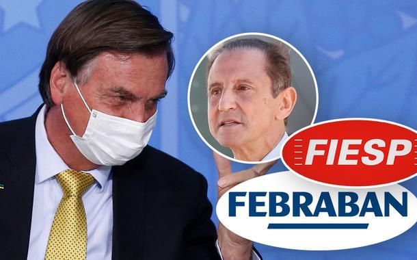 Jair Bolsonaro e Paulo Skaf no detalhe