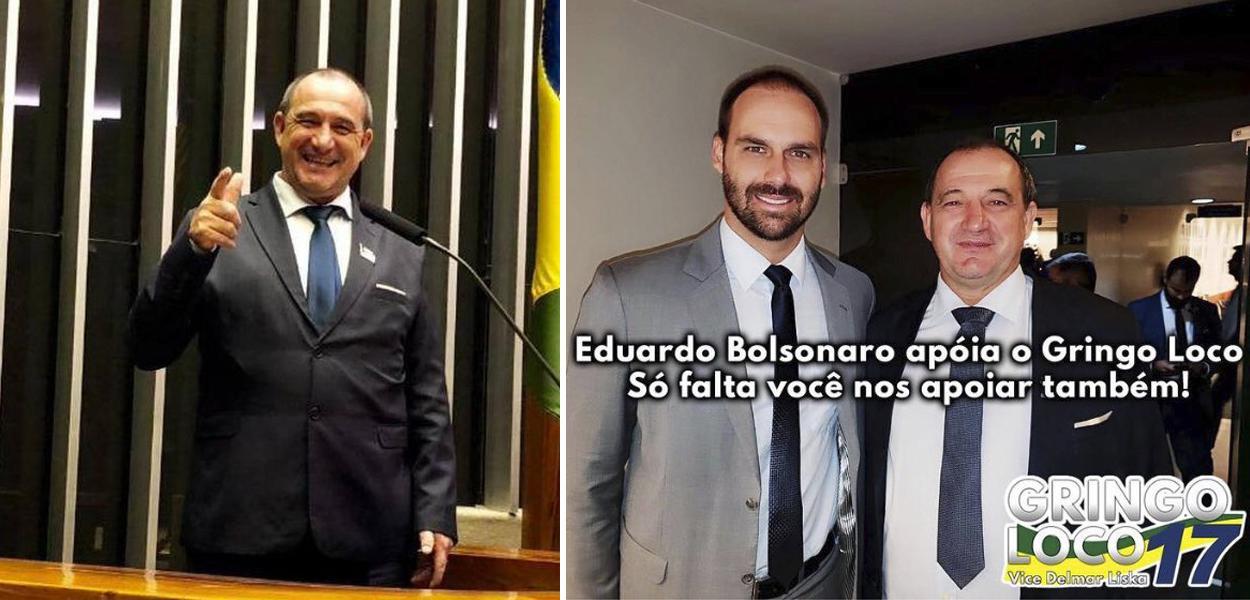 Prefeito de Cerro Grande do Sul (RS), Gilmar João Alba, e o deputado federal Eduardo Bolsonaro
