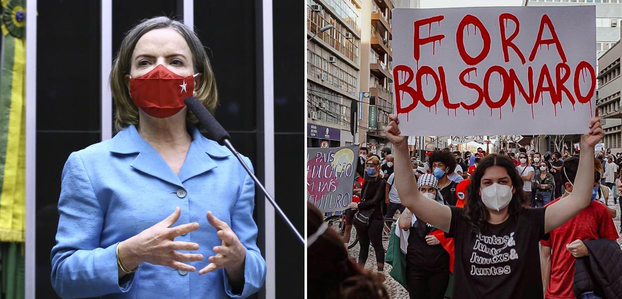 Presidente nacional do PT, deputada Gleisi Hoffmann, e um ato pelo Fora Bolsonaro