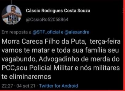 Ex-pm ameaça Moraes