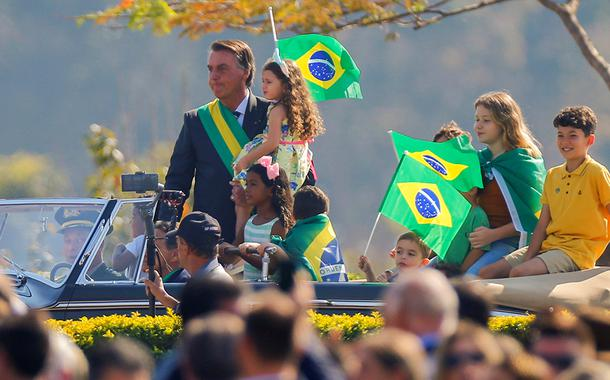 Bolsonaro em cerimônia pelo Dia da Independência, em Brasília