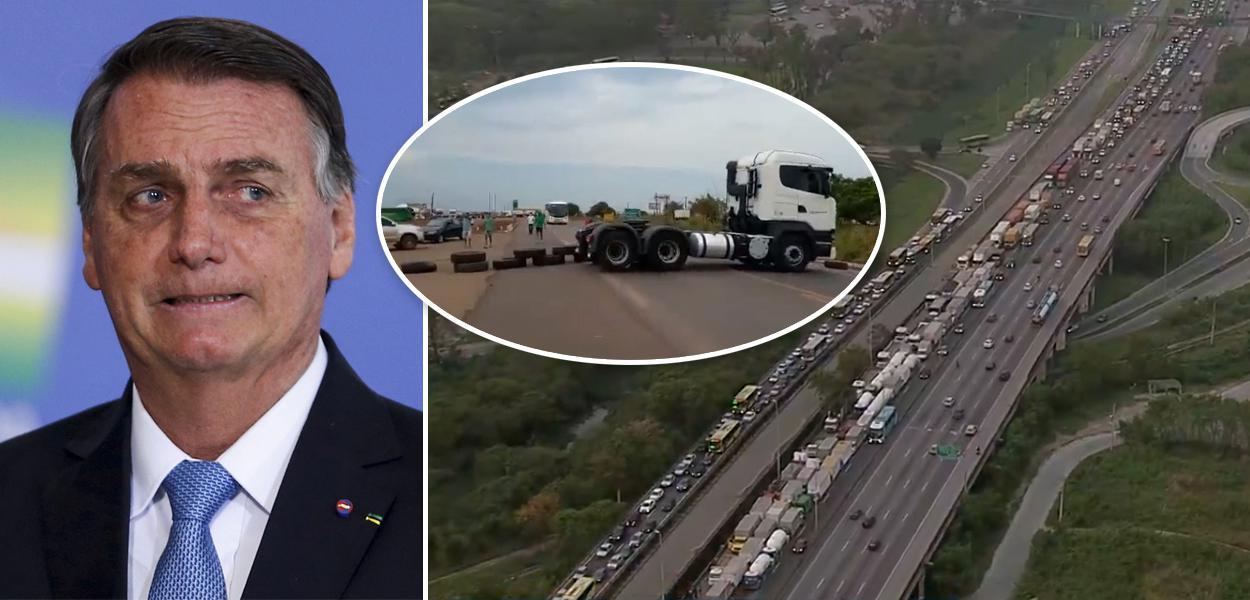 Bolsonaro e caminhoneiros em greve