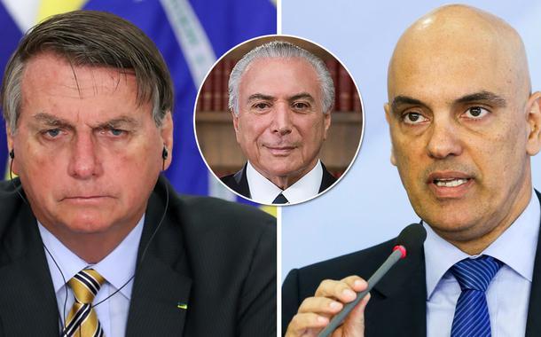 Jair Bolsonaro, Michel Temer e Alexandre de Moraes