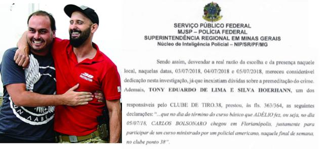 Carlos Bolsonaro, o dono do clube de tiro e trecho do inquérito