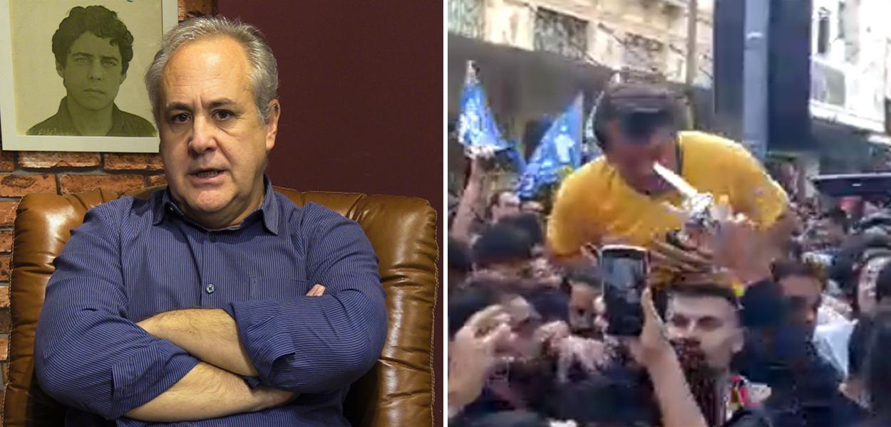 Joaquim de Carvalho e Bolsonaro levando facada