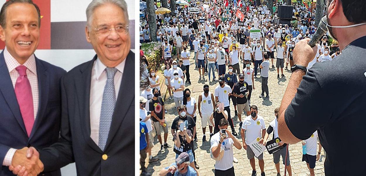 Governador João Doria, ex-presidente FHC e um ato contra Jair Bolsonaro