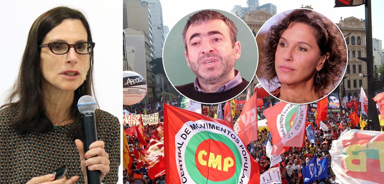 Historiadora Lilia Schwartz, filósofo Marcos Nobre e a cientista política Daniela Campello mais um ato contra Jair Bolsonaro ao fundo