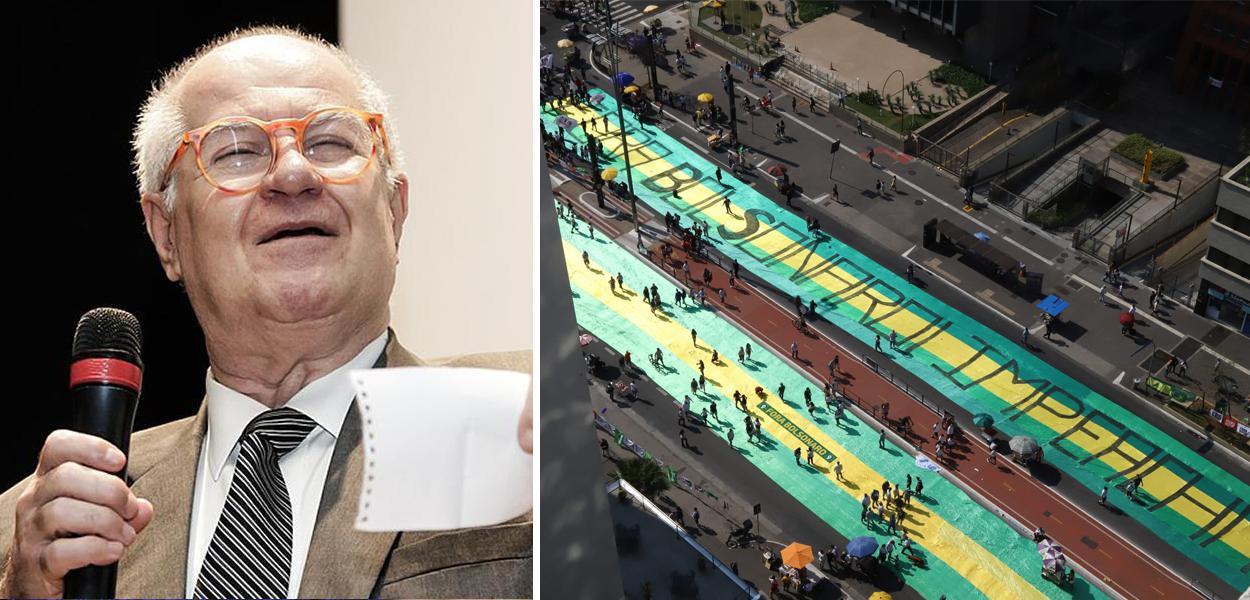 Colunista Elio Gaspari e um ato do MBL contra Jair Bolsonaro