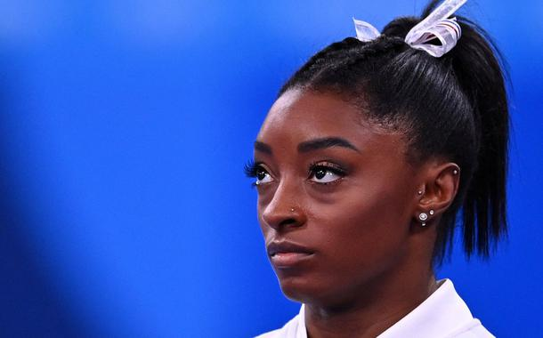 Simone Biles durante Olimpíada de Tóquio 27/07/2021 REUTERS/Dylan Martinez