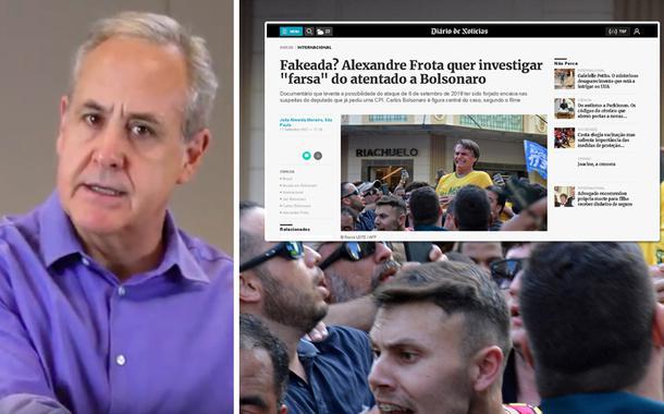 Jornalista Joaquim de Carvalho e a imagem da suposta facada em Jair Bolsonaro mais uma captura da reportagem da imprensa portuguesa