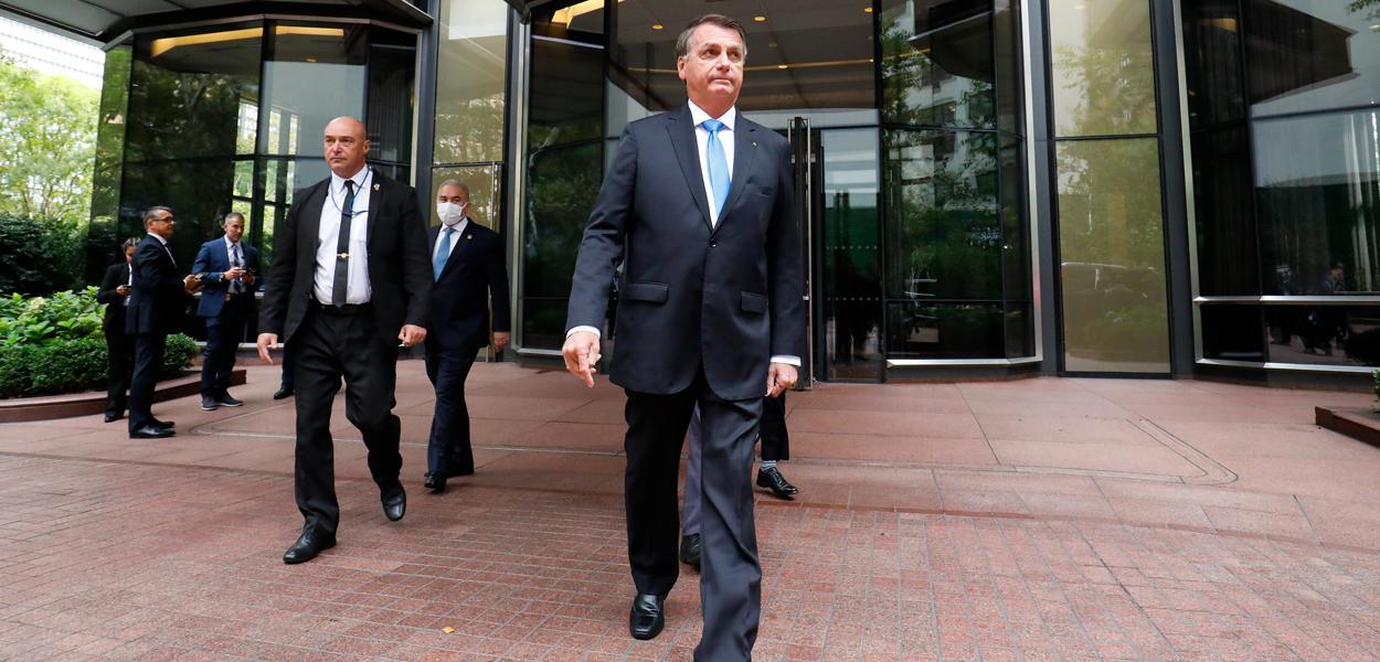 Presidente da República Jair Bolsonaro, deixa o Consulado Geral do Reino Unido, após o encontro com o Primeiro Ministro do Reino Unido, Boris Johnson. 20/09/2021