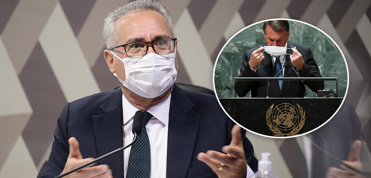 Renan Calheiros e Bolsonaro discursando na ONU