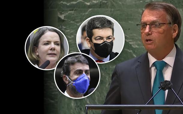 Deputado Marcelo Freixo, presidente do PT, Gleisi Hoffmann, senador Randolfe Rodrigues, e Jair Bolsonaro