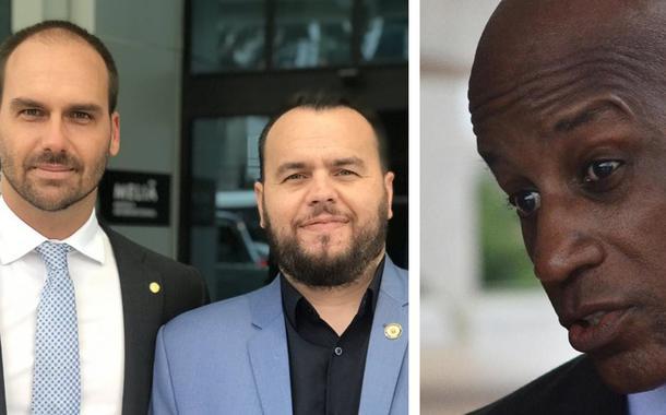 Deputados Eduardo Bolsonaro e Gil Diniz, e o presidente da Fundação Palmares, Sérgio Camargo