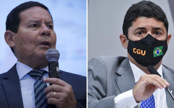 Vice-presidente Hamilton Mourão e o ministro da CGU Wagner Rosário