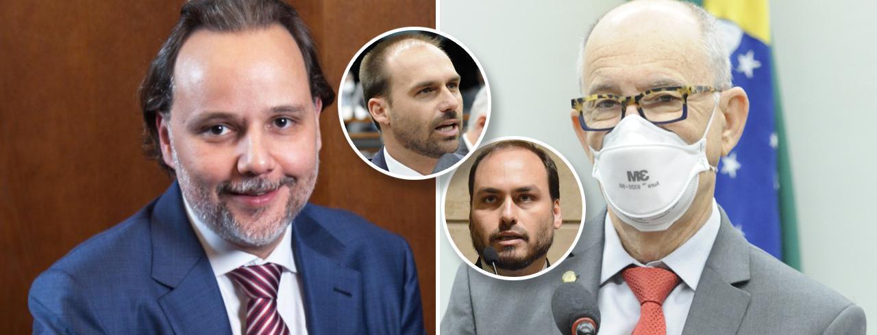 Marco Aurélio de Carvalho Eduardo e Carlos Bolsonaro e Rui Falcão