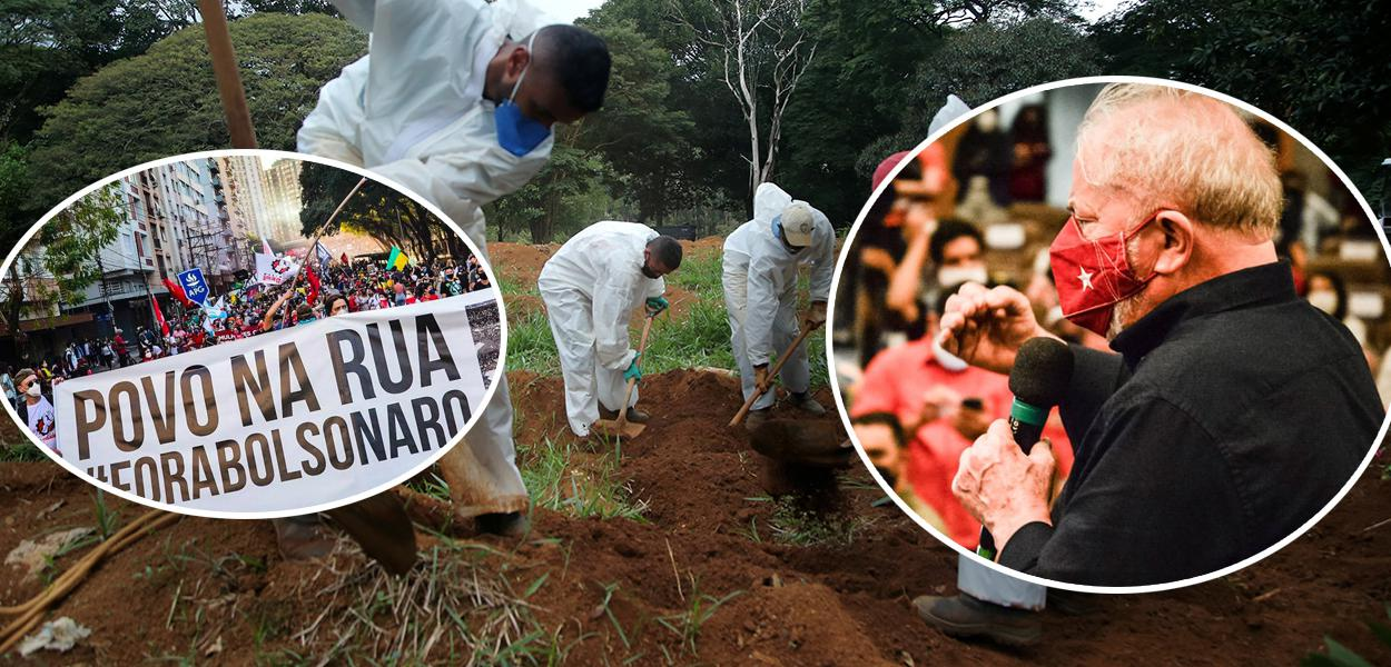 Ato contra Jair Bolsonaro, cemitério em SP com vítimas da Covid-19 e o ex-presidente Luiz Inácio Lula da Silva
