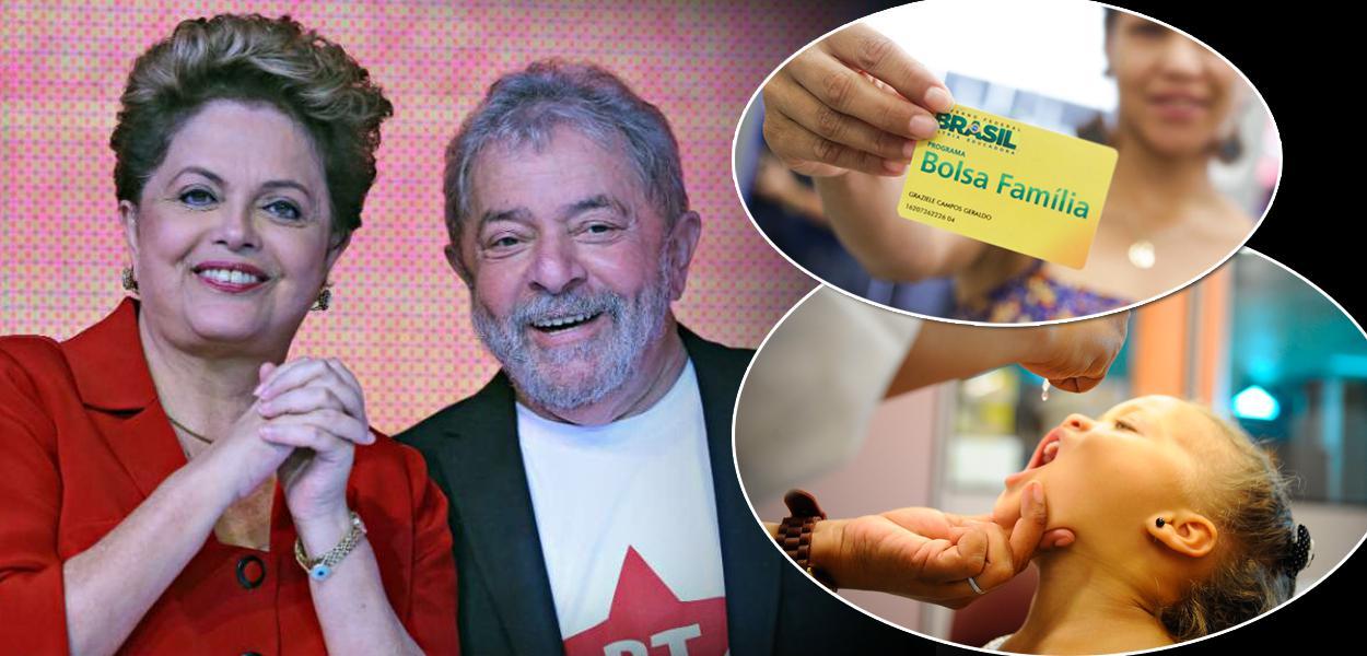 Ex-presidentes Luiz Inácio Lula da Silva, Dilma Rousseff, cartão do Bolsa Família mais uma criança