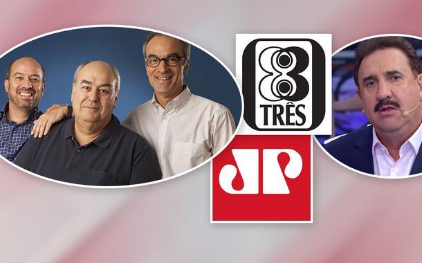 Família Marinho, logos da Jovem Pan e da Editora 3, e o apresentador Ratinho