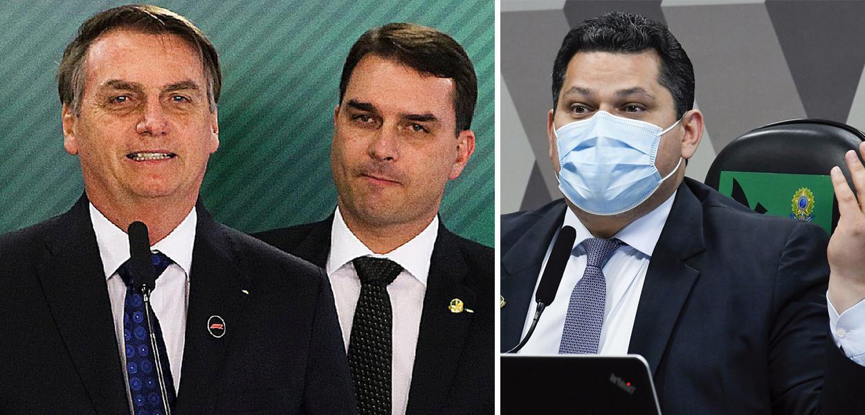Jair e Flávio Bolsonaro e Davi Alcolumbre