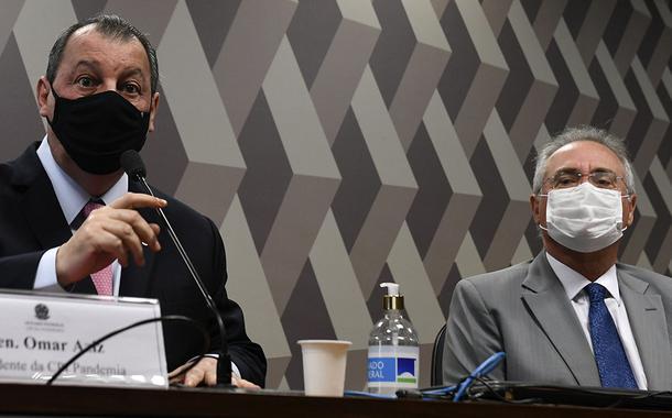 Senadores Omar Aziz (PSD-AM) e Renan Calheiros (MDB-AL), presidente e relator da CPI da Covid, respectivamente
