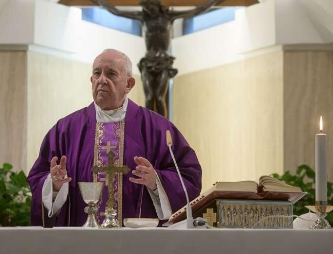 Pope Francis celebrates Mass via livestream from Casa Santa Marta, March 13, 2020.