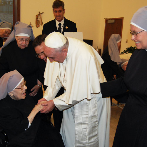 Pope Francis made a surprise visit to the Little Sisters of the Poor in Washington on Sept. 23, 2015.