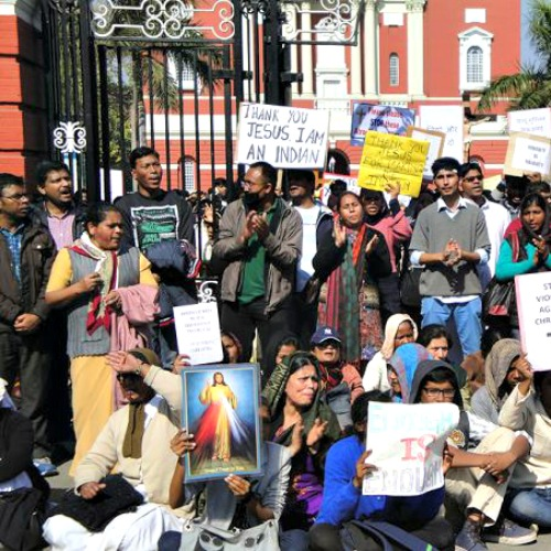 Following a series of attacks on churches in New Delhi, Christians protest government and police inaction Feb. 5.
