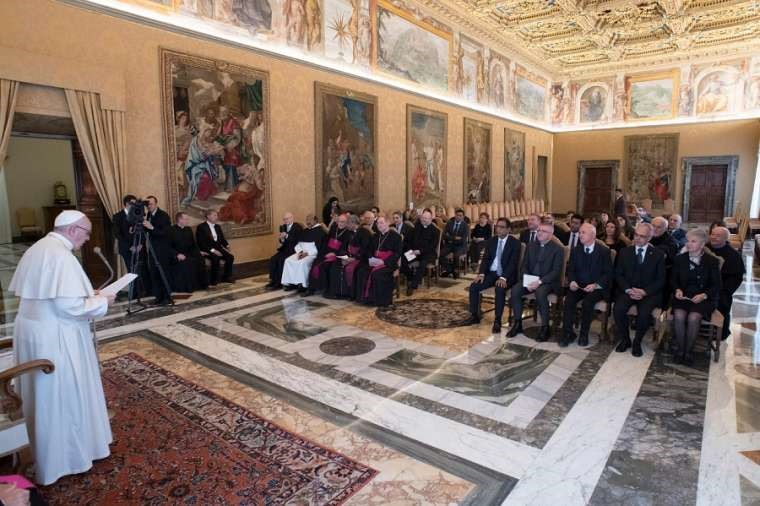 Pope Francis meets with the Shahbaz Bhatti Mission association Nov. 30.