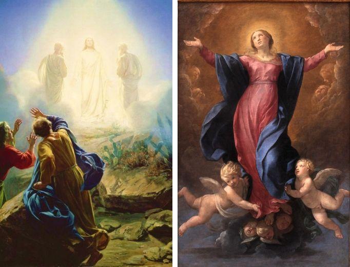 Transfiguration art by Carl Heinrich Bloch; Assumption art by Guido Reni