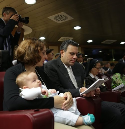 Massimo and Patrizia Paloni and their 12th child, 3-month-old Davide. The Palonis are auditors (observers) at the synod on the family.