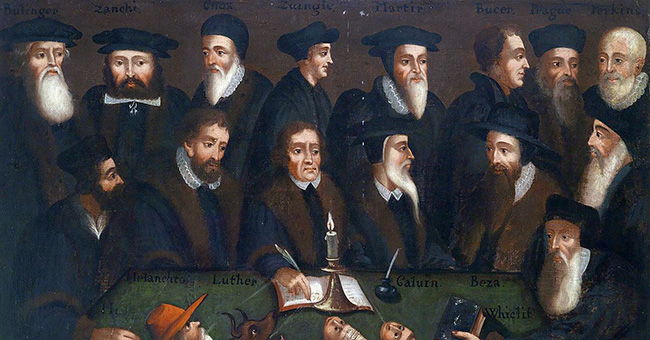 """""""The Reformers"""" (German School of the Early 17th Century). Pictured: Bullinger, Zanchi, John Knox, Zwingli, Bucer, Matthew Parker, William Perkins, Melanchthon, Martin Luther, John Calvin, Theodore Beza and John Wyclif."""
