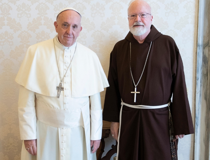 Pope Francis with Cardinal Sean O'Malley of the Archdiocese of Boston in Vatican City on April 19.
