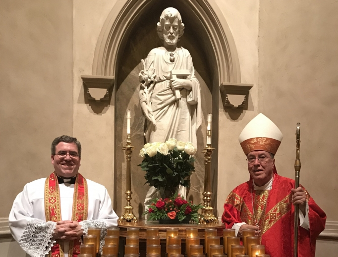 Above, Bishop Robert Baker of Birmingham and Father Bryan Jerabek, rector of the Cathedral of St. Paul, stand in front of the St. Joseph statue in the cathedral.  Below is a closer look at the statue of St. Joseph in the cathedral, astatue of St. Joseph that is usually indoors at Comunità Cenacolo, and another statue on St. Joseph Lane at Comunità Cenacolo, near the Shrine of the Most Blessed Sacrament in Hanceville, Alabama.